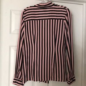 Worthington Tops - Worthington tie pink & black striped shirt size s